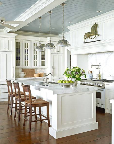 White Kitchen With Blue Gray Ceiling Traditional