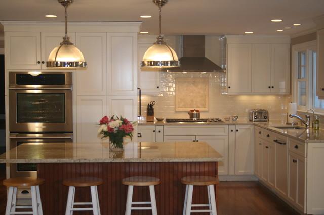 White Kitchen With Cherry Island Transitional Kitchen Boston By Mary Porzelt Of Boston