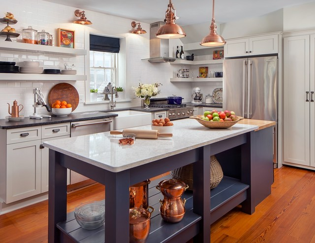 White kitchen with copper and navy blue accents  Farmhouse  Kitchen