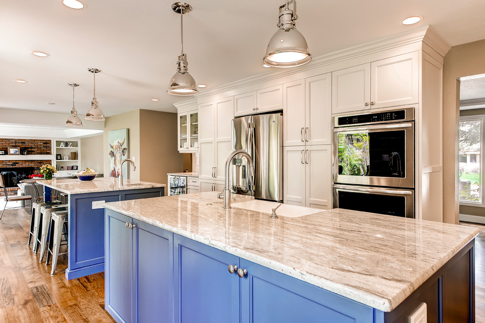 White Kitchen with Custom Blue Island - Transitional ...