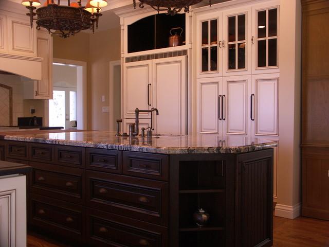 White Kitchen with Dark Stained Island modern-kitchen