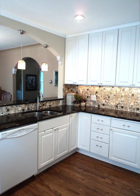 White Kitchen With Glass Mosaic Backsplash Contemporary Kitchen
