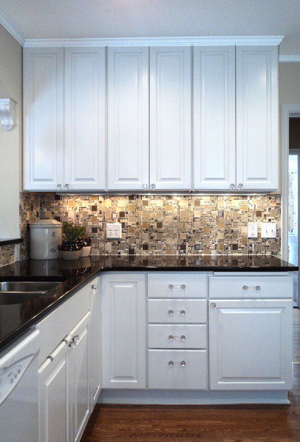 White Kitchen With Glass Mosaic Backsplash - Traditional - Kitchen ...