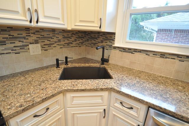 white kitchen with glass tile backsplash traditional kitchen new