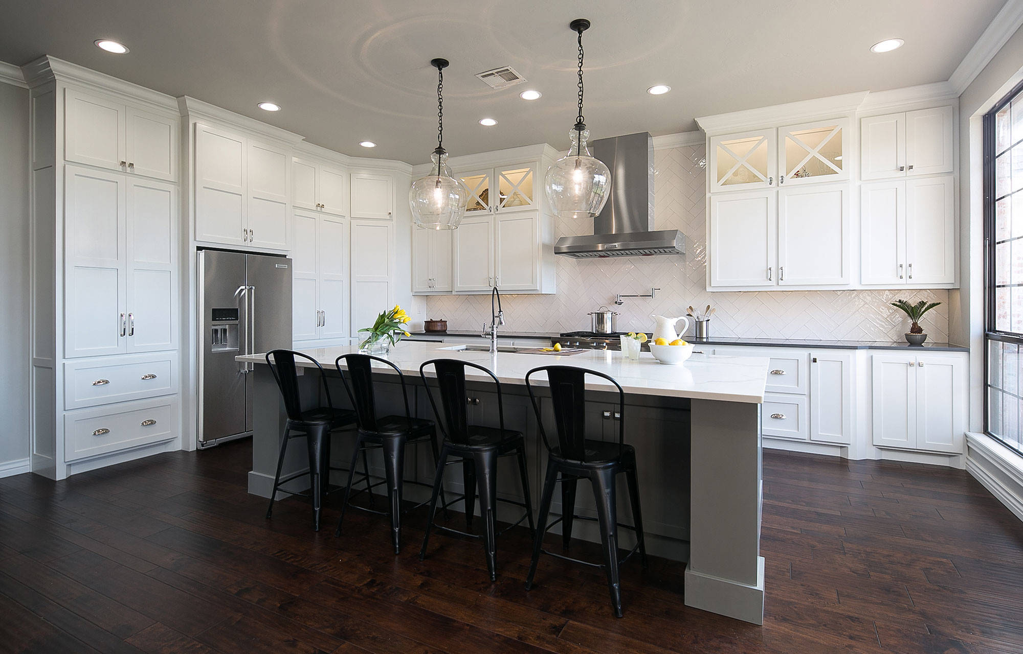 White Kitchen with Gray Island and Dark Floors   Transitional ...