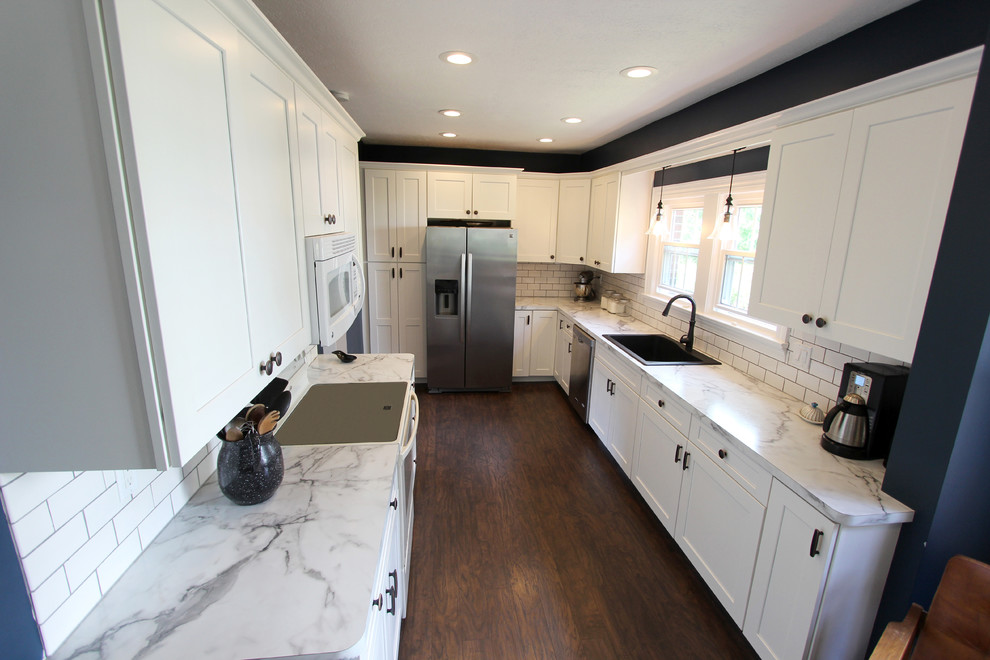 White Kitchen With Marble Look Laminate Countertop Akron Oh Transitional Kitchen Cleveland By Cabinet S Top