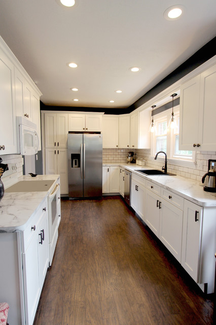 White Kitchen with Marble Look Laminate Countertop ~ Akron, OH ...