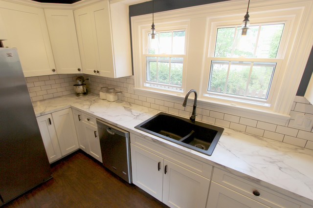White Kitchen with Marble Look Laminate Countertop ~ Akron ...