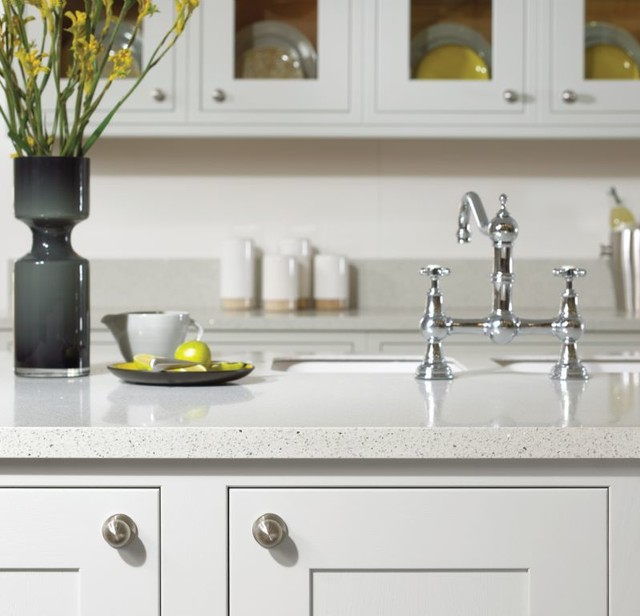 Recycled Aluminum Countertops : White kitchen with recycled glass countertop