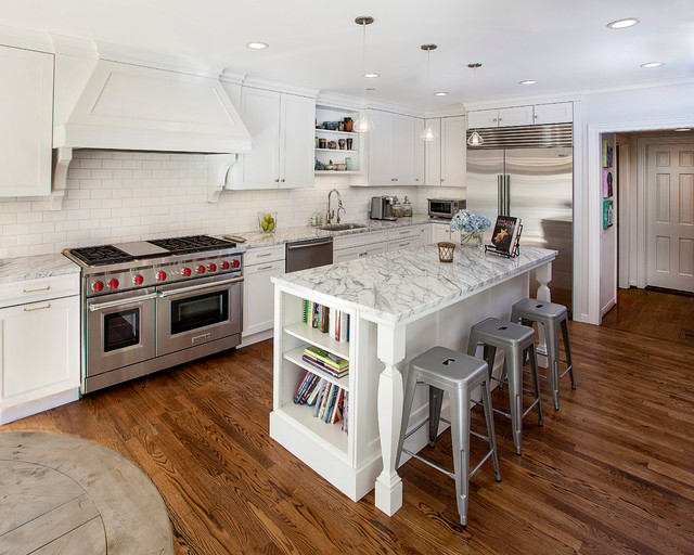 White Kitchen With Stainless Steel Appliances Traditional Kitchen