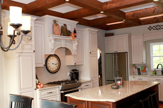 White kitchen with stone fireplace craftsman-kitchen
