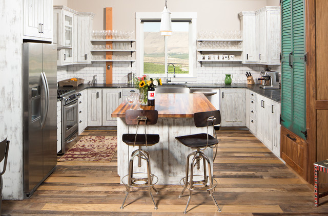 White Kitchen With Subway Tile Backsplash Farmhouse