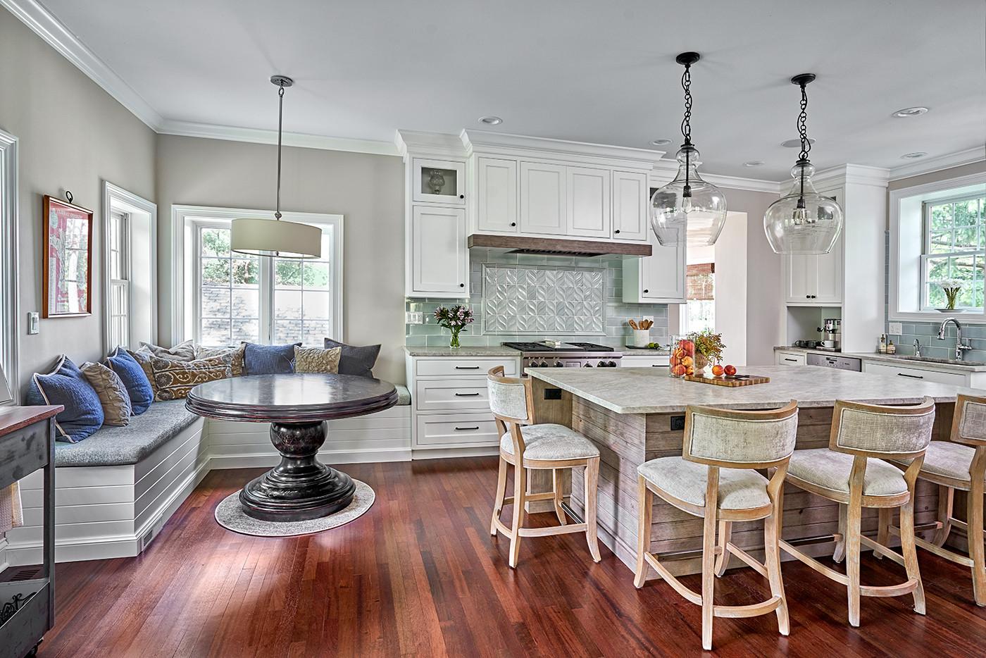 White kitchen with Unique Island
