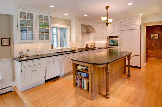 White Kitchen with Wood Contrasting Island - Traditional - Kitchen - Philadelphia - by R. Craig ...