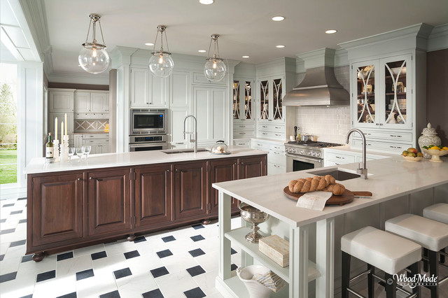 White Kitchen With Wood Island Traditional Kitchen