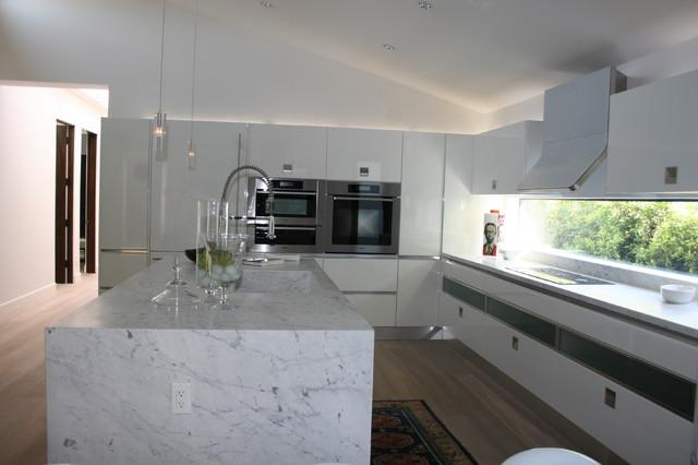 White Laquer and Dark Oak Kitchen modern-kitchen