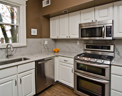 White Macaubas Quartzite in NW DC traditional kitchen