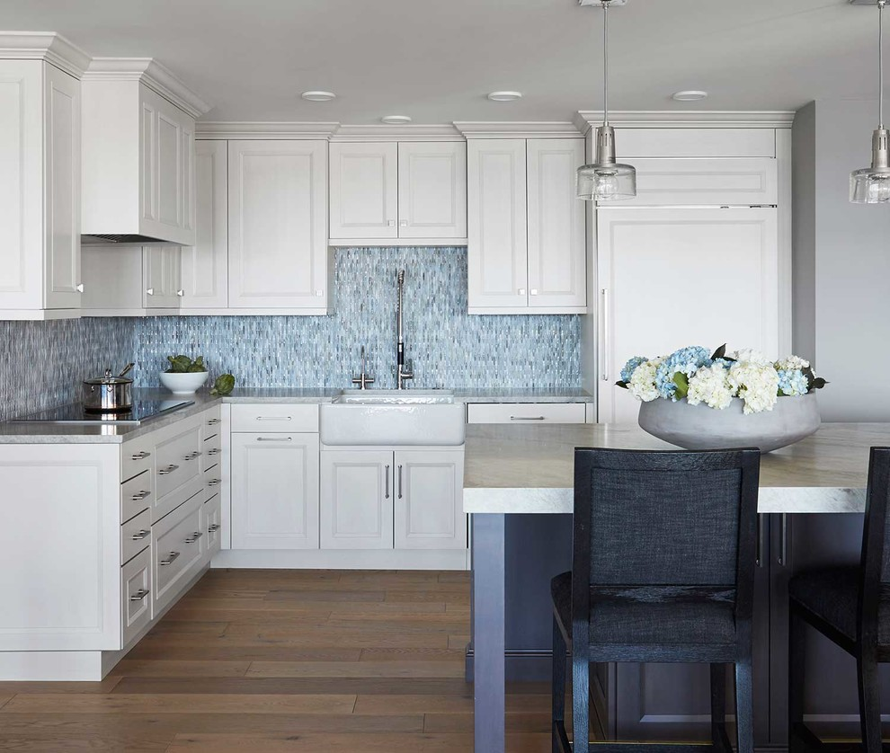 White Maple Cabinets, Farm Sink, and Mosaic Backsplash ... on Modern Kitchen Backsplash With Maple Cabinets  id=57832