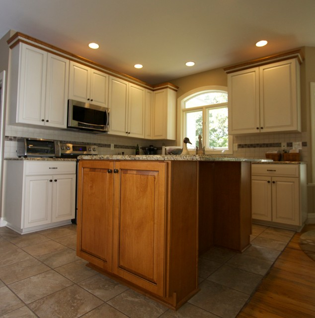 White Maple Transitional Kitchen With Custom Island In