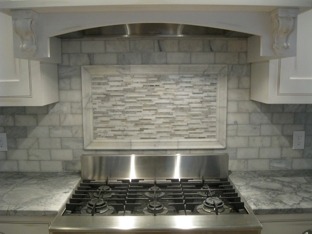White marble backsplash traditional kitchen boston Italian marble backsplash