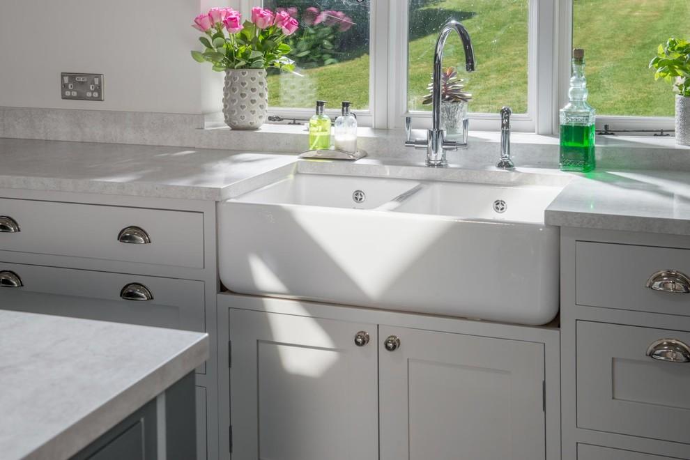 White Marble Farmhouse Farmhouse Kitchen Other By Granite Transformations