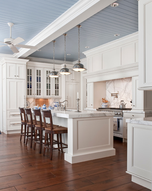 High Ceiling Kitchen Design Ideas ~ White marble kitchen