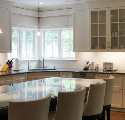 White Matchstick Roman Shades Traditional Kitchen