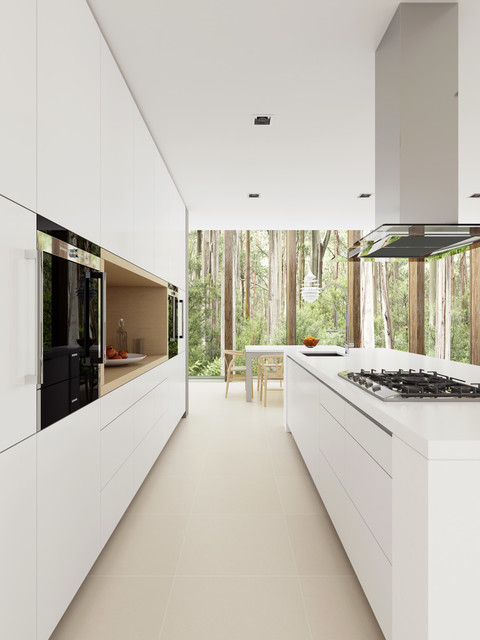 White minimalist modern kitchen sydney by dan for Minimalist condominium interior design