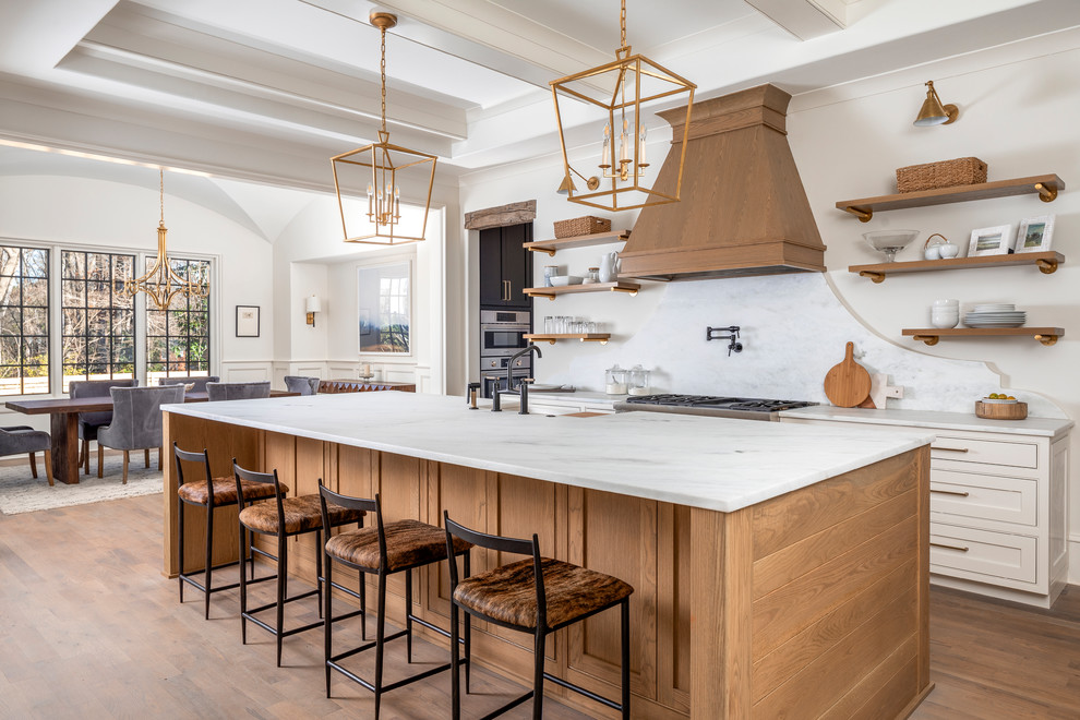 White Oak Accents In Kitchen, Oak Kitchen Cabinets With White Countertops