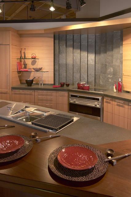 White Oak and Slate Backsplash asian-kitchen