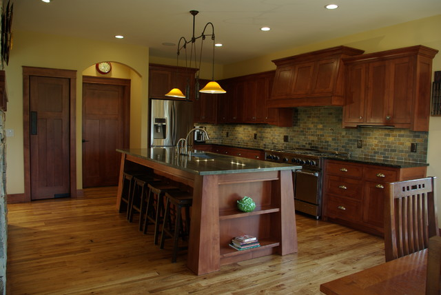 mission style kitchen cabinets. Example of a large arts and crafts l shaped medium tone wood floor open  concept Mission Style Kitchen Houzz
