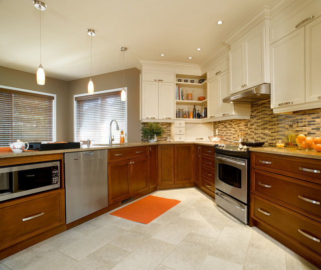 white or wood cabinets transitional kitchen montreal