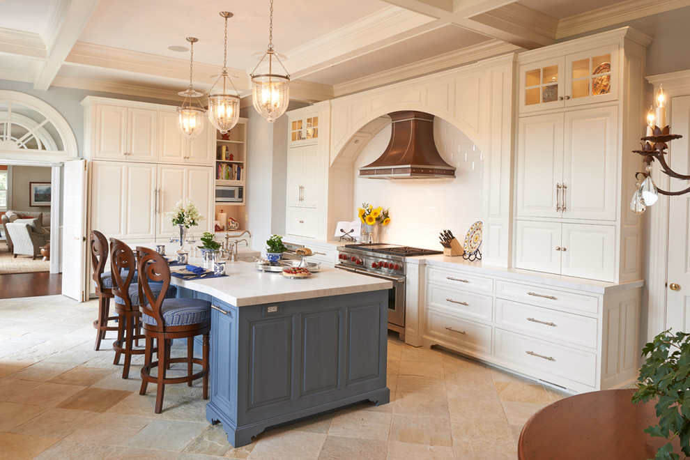 White Paint Blue Accents Traditional Kitchen Baltimore By Prevo Cabinetry Houzz
