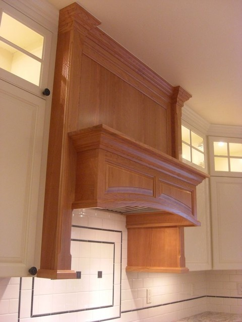 White painted and natural cherry traditional-kitchen