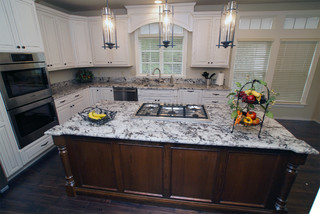 White Painted Cabinets with Mocha Stained Island