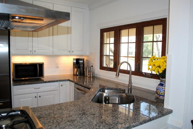 White Painted Raised Panel Doors, Caledonia Granite, White ...