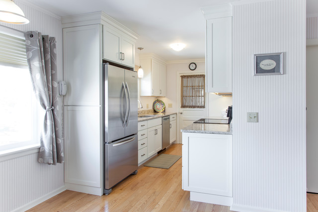 White painted shaker galley kitchen with quartz for Small galley bathroom designs