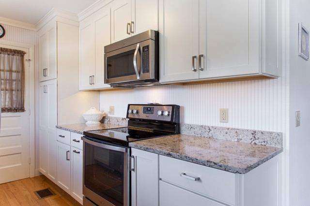 White Painted Shaker Galley Kitchen With Quartz Countertops Transitional