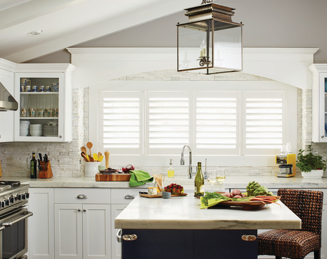 White Plantation Shutters For The Kitchen Contemporary Kitchen