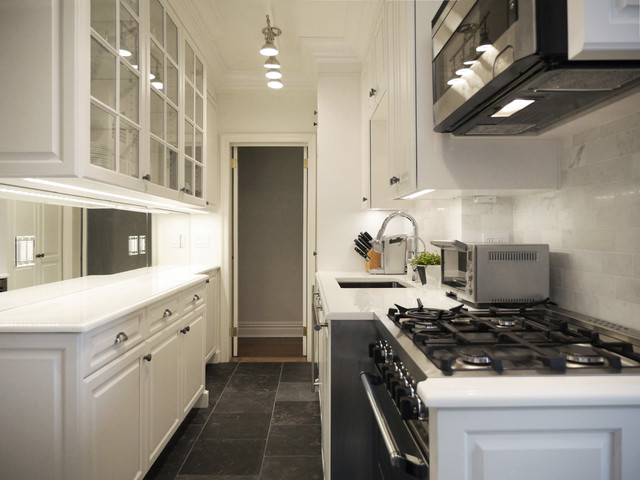 White Prewar Galley Kitchen Traditional Kitchen New York By Paula Mcdonald Design Build