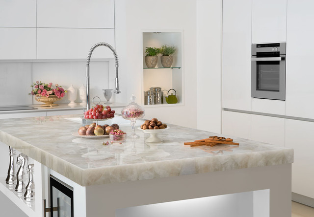 White Quartz Countertop Contemporary Kitchen