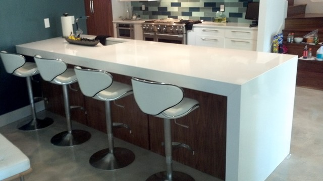 White Quartz Island modern-kitchen