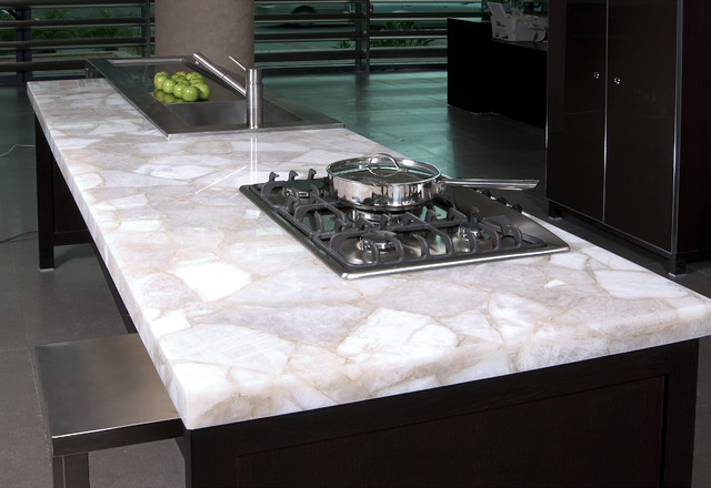 Kitchen Island Quartz white quartz kitchen island - modern - kitchen - new york -zicana