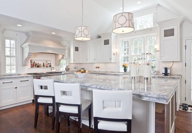 white quartzite kitchen counter tops - contemporary - kitchen