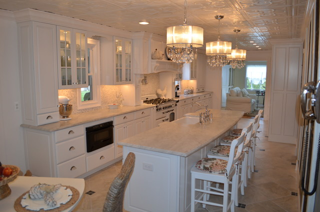 Farmhouse Kitchen White Cabinets white raised panel cabinets - farmhouse - kitchen - new york -