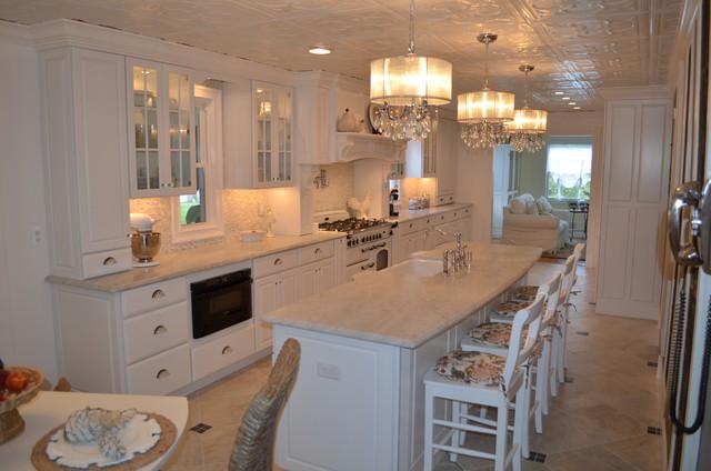 White Raised Panel Cabinets - Farmhouse - Kitchen - New York - by Amoroso Kitchens and Custom ...