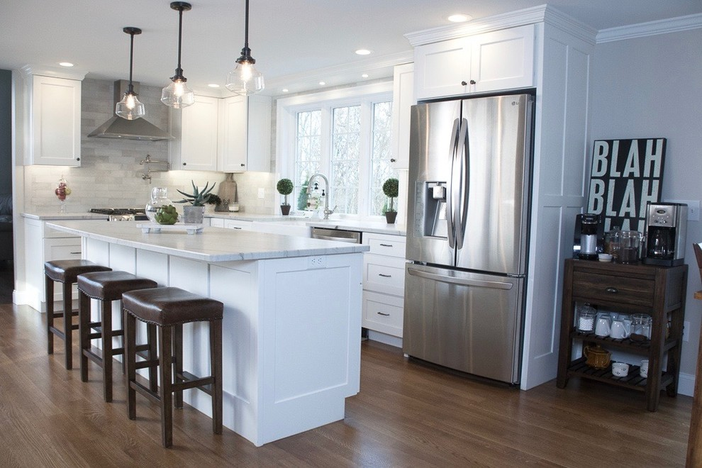 White Recessed Panel Cabinetry - Transitional - Kitchen ...