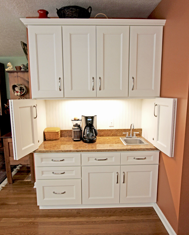 Kitchen Cabinet With Bar White Refaced Kitchen Cabinets with New Hardware, Coffee Bar