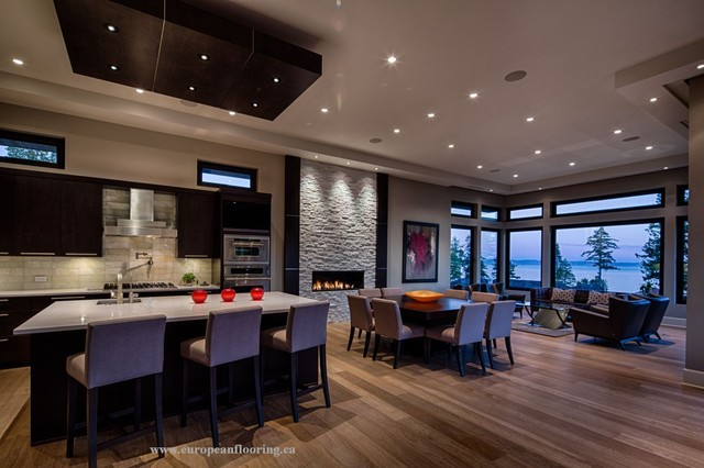White Rock Home Planed Dutch 19 Engineered Hardwood Flooring Contemporary Kitchen