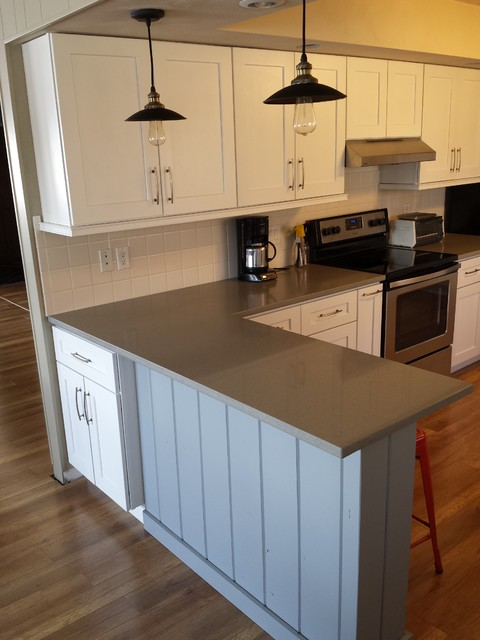 White Shaker Cabinets and Concerto Quartz Countertops Contemporary Kitche